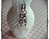 Rose Quartz and Copper Chainmaille Earrings