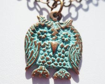 Owl Necklace Patina Antique Copper Color Chain Pendant