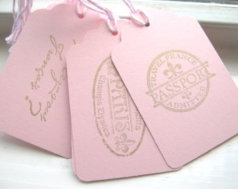 Pink and Gold Paris Gift Tags