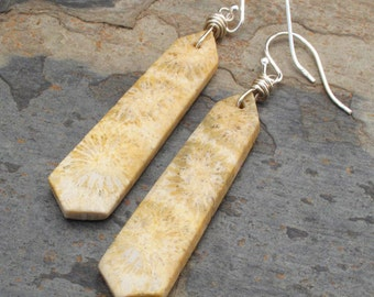 Fossil Coral Sterling Silver Earrings - Ancient Seas