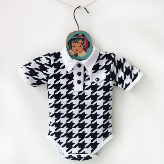 Baby Boy Collared Houndstooth Onesie