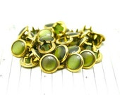 Limited Edition 24 GOLD RIMMED Forest Green Cowgirl Snaps Pearl Prong Western Snaps