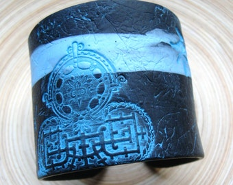 SALE Black and Turquoise Blue Asian Collage Cuff Bracelet Spirit Kanji, Handmade by theshagbag on Etsy