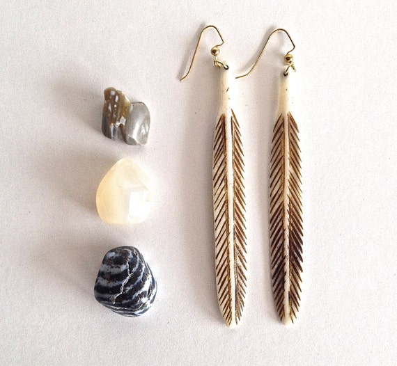 bone feather earrings - new bohemian collection