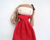 isabella rag art cloth doll polka dots red dress made to order