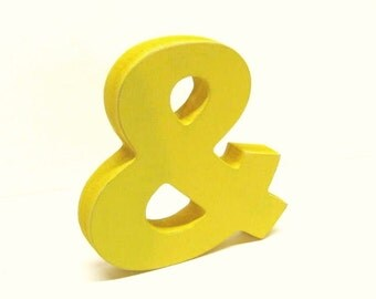 Wood Ampersand Sign - & - 5 Inch Shelf Sitter Style - Painted Sunny Yellow - Distressed - Typography - Wedding Decor
