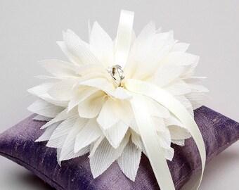 Purple ring pillow, ivory ring bearer pillow, ring pillow wedding - Lydia