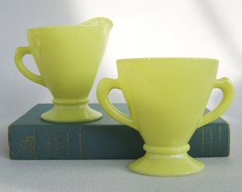 Vintage Hazel Atlas Ovide Cream & Sugar Chartreuse Yellow