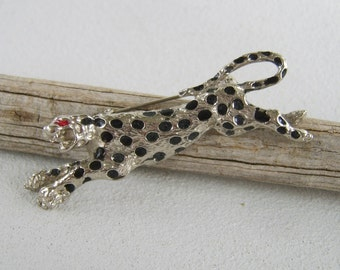 Vintage Silver Leopard Brooch Big Cat Enamel Spots