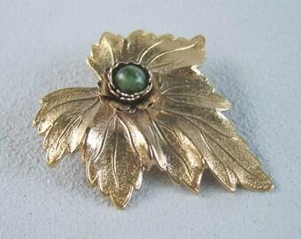 Vintage Jade Leaf Brooch Mid Century