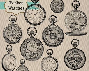 Vintage Pocket Watches, digital clip art and photoshop brushes: Instant Download