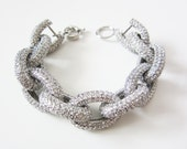 Silver Crystal Pave Link Bracelet