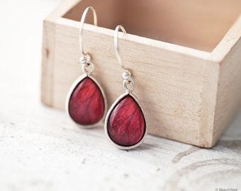 Red rose earrings, Ruby Red earrings, Gift for women earrings, Teardrop earrings, Red Silver earrings, Red drop earrings Red Flower earrings