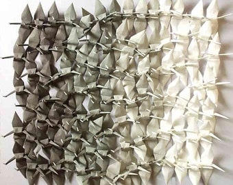100 Small Origami Cranes Origami Paper Cranes - Made of 7.5cm 3 inches Japanese Paper - Grey White