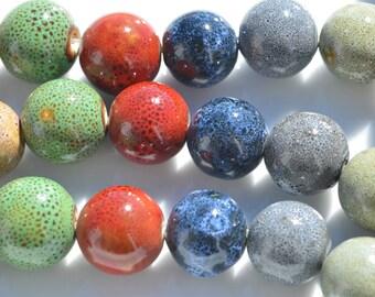 14 Round Ceramic  16mm Beads  BD300