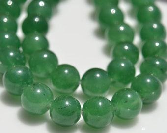 48 Green Aventurine 8mm Round Beads BD731