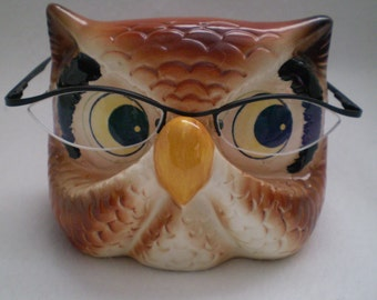 Vintage Owl Ceramic Eye Glasses Holder Stand
