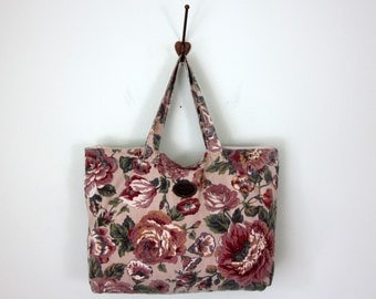 80s bag / cotton canvas floral print tote carryall overnight carryon luggage