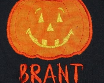 Pumpkin Boutique Halloween Fall Jack O Latern Custom Personalized Shirts Family Girls Boys Dad Mom Name Included Appliqued Embroidered