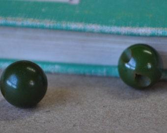 2 Vintage Green Bakelite Ball Buttons - 1/2 inch - Round Buttons - Marble Buttons - Circular Buttons - Bakelite
