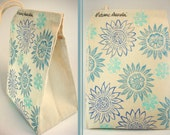 Hand Stamped Flowers - Recycled Cotton Canvas Lunch Bag