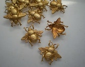 12 small brass bumblebee charms
