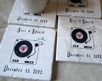 Personalized Retro Record Coaster Wedding Favors - Music Party  Keepsake - Set of 25