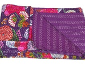 Twin Size Bedcover in Purple - Throw - Katha quilts - Reversible Quilt - Quilted bedcovers - Floral Quilt - Spring Collection Quilts