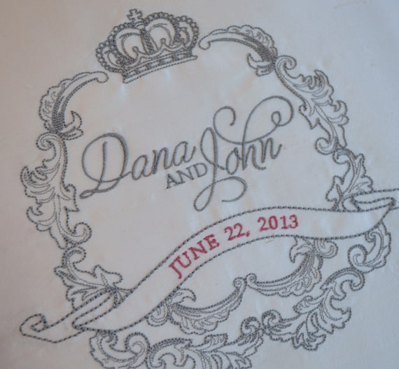 WEDDING CREST DECOR - Bridal Pillows Custom Made - Silk - Cream and Steel - Any Color or Fabric