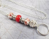 Red and White Large Hole European Style Beaded Oval Link Chain ID Lanyard, Badge Holder