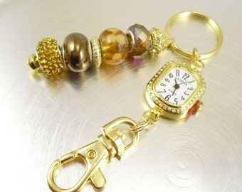 Gold Pave and Mocha Beaded Key Chain, Purse Embellishment, Zipper Pull with Rhinestone Studded Watch Face