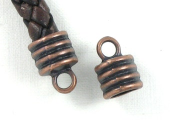 12 large antique copper jewelry End Cap beads with loop for leather.  6.8mm inside diameter (EC7ac)