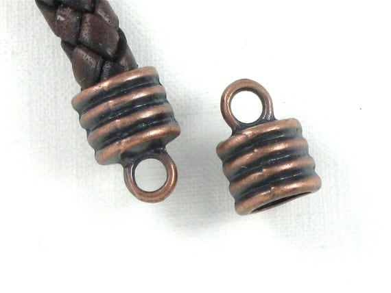 Large antique copper jewelry end cap beads with loop for