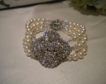 Bridal Pearl Bracelet, Victorian Flower Bouquet Bridal Wedding Bracelet, Rhinestone and Pearl Bridal Bracelet, White Ivory PB006