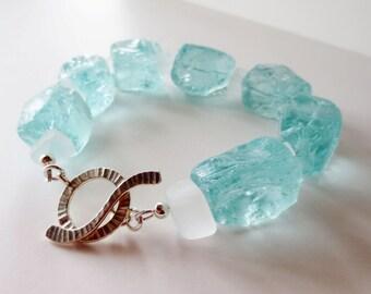 Aqua bracelet.  Blue stone nugget.  Beach glass bracelet.  Silver bracelet.  Chunky bracelet.