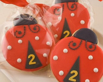 Ladybug Cookies, Garden Bug Party - 12 Decorated Sugar Cookie Favors