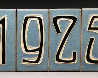 Handmade Four-Digit House Number Tiles - Made to Order