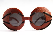 Circle Round Retro Basketball Rhinestone Frame Sunglasses // Orange Black Acrylic Rhinestones Shades // Jackie O Super Sunnies
