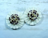 Seashell Shoe Clips - Satin YoYo Flowers - Purple Cowries
