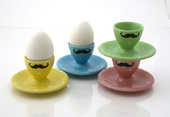 mustache easter egg cups set of four