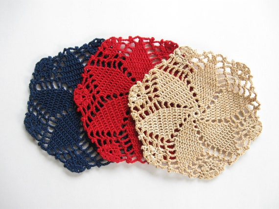 Americana Star Crocheted Coasters - Mug Mats - Glass Mats  Dining Table Decor Country Decor - Set of Three -  Red White and Blue Patriotic