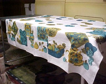 70's linen table cloth has  white background with fruit, Roosters,  in blue and green- like new-size 51X52