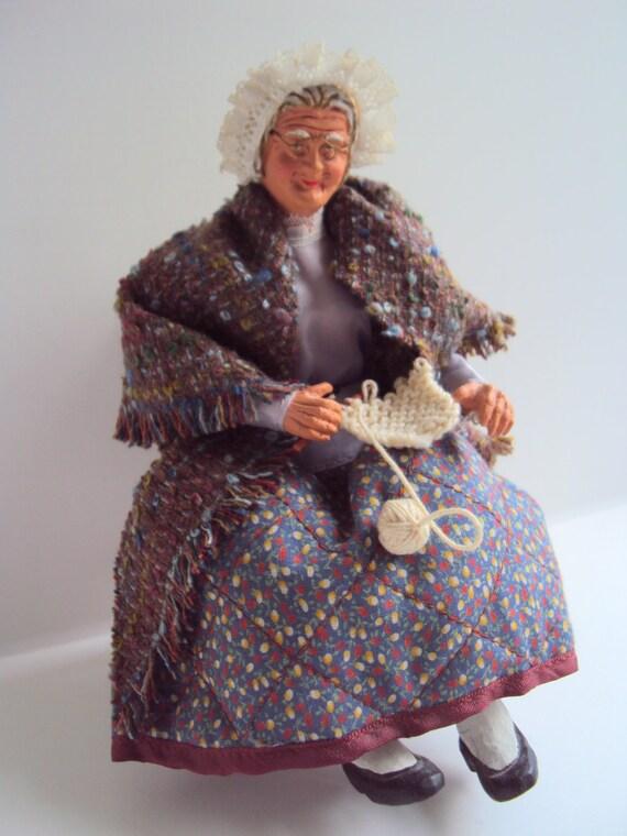 French Knitting Doll : French santon knitting lady doll vintage handmade by