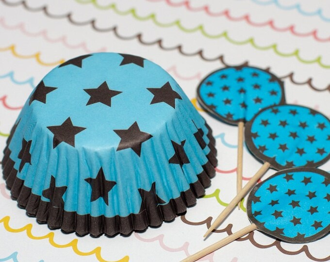 Blue/Dark Brown Stars Cupcake Set