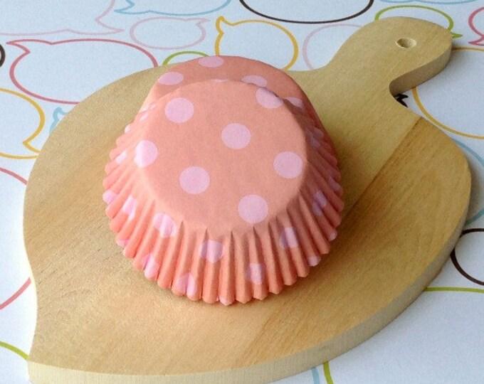 Coral Pink/Pink Polka Dots Cupcake Liners
