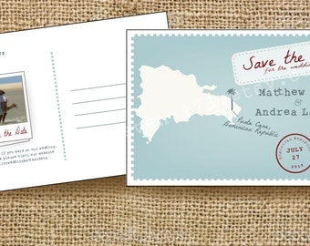 Destination Save the Date Postcard // Custom Map Save the Date with Custom Colors