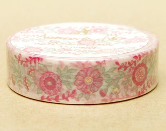 20% off sale - Aimez Washi Masking Tape - Pink Flower Garland