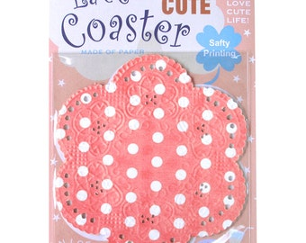 Season Lace Paper Doily - Pink Polka Dots - pack 20