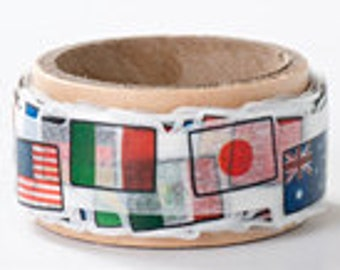 Round Top Masking Tape - World Flags  - Die Cut