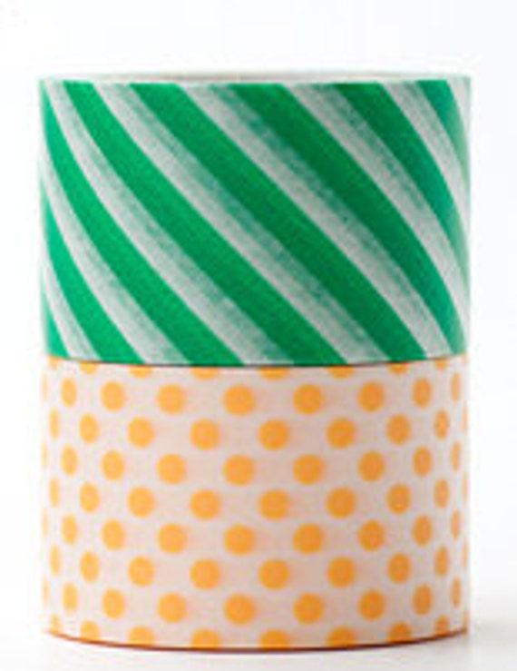 mt Washi Masking Tape - Green Stripes & Apricot Spots - Wide Set 2 - L